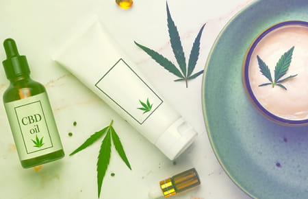 Assorted CBD products including oils and creams