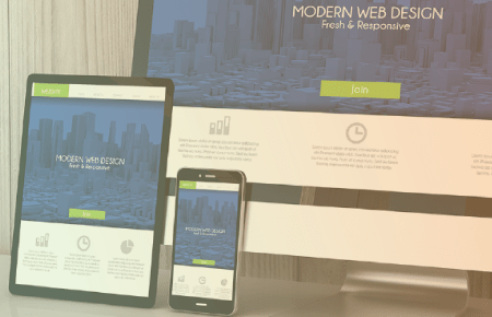 Desktop, tablet and cell phone advertising web design
