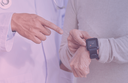 Doctor and patients looking at smart watch